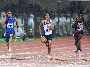 Iran's Haran Taftian (2-L) competes to win the Gold Medal in men's 100m event during the second day of the 22nd Asian Athletics Championships at Kalinga Stadium in Bhubaneswar on July 7, 2017. / AFP PHOTO / Dibyangshu SARKAR